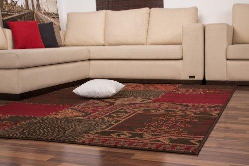 Moderne-Teppiche-Patchwork-Flachflor-Designer-NEU-OVP-Sonderangebot-Rot-Braun
