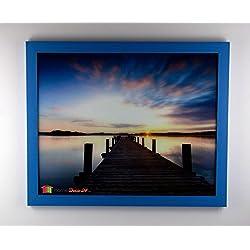 Homedeco-24 Monaco MDF Bilderrahmen Ohne Rundungen 47 x 62 cm Größe Wählbar 62 x 47 cm Hier: Hellblau Babyblau mit Acrylglas Klar 1 mm