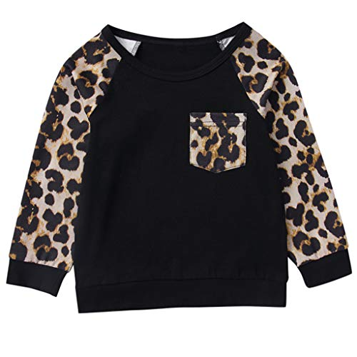 Cuteelf Kinder Mädchen Pullover Langärmliges Pocket Leopard Print Top Baby Mädchen Warm Hoodie T-Shirt Top Outfits Set Kleidung Set Baby Jungen Mädchen Mädchen Langarm