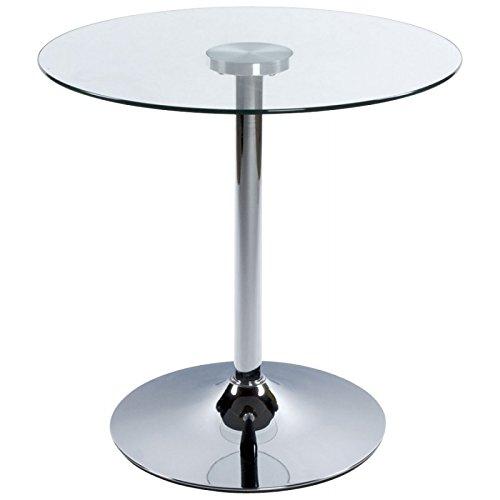 Mesa redonda VINYL metal y cristal templado