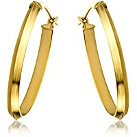 Miore 9 ct Yellow Gold Plain Oval Creole Earrings