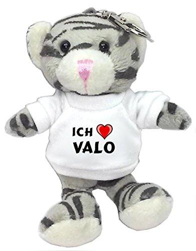 Preisvergleich Produktbild Plüsch Graue Katze Schlüsselhalter mit T-shirt mit Aufschrift Ich liebe Valo (Vorname/Zuname/Spitzname)