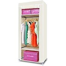 HST Mall Single Canvas Wardrobe Cupboard Clothes Hanging Rail Storage Clothes Storage Organiser 160cm x 69cm x 43cm Beige