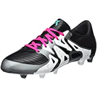 Adidas X 15.3 FG/AG J, Botas de Fútbol Unisex Niños, Blanco/Negro/Verde (Ftwbla/Negbas/Seliso), 38 EU
