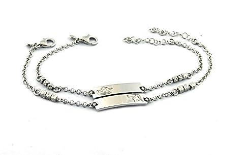 Rolo-Armband Doppelstrang mit doppelter Platte mit eingraviertem Krone König und Königin Sterling Silber 925hypoallergen, vergoldet weiß Länge 18cm verstellbar