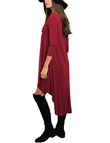 Modetrend Femme Robe Elégante Casual Asymétrique à Manches Longues Col Rond Tunique Robe de Cocktail Soirée Rouge