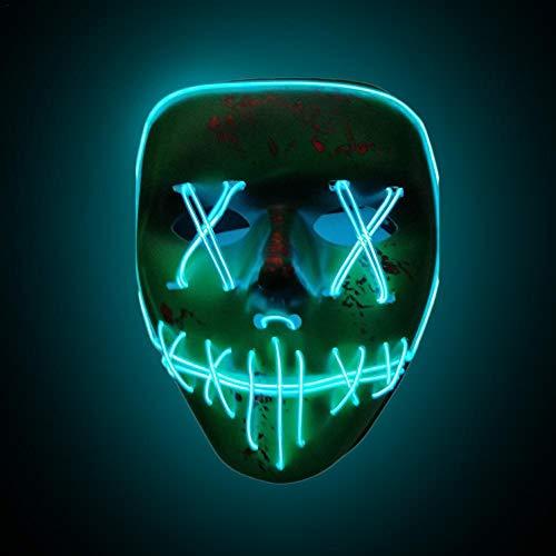 (Cathy02Marshall Halloween Skeleton LED Mask LED Halloween Masken,3V EL Wire Erschreckend Erwachsene Neon Leuchten Maske für Festival, Cosplay, Halloween, Kostüm, Batterie Angetrieben,Eisblau)