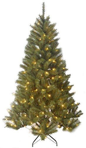Black Box Trees 1002218-02 Künstlicher Weihnachtsbaum Delmonto Beleuchtet, Höhe 215 cm, Durchmesser 132 cm, 240 LED's, 1043 Zweige, PVC Hart- und Weichnadel, Spitzen geeist -