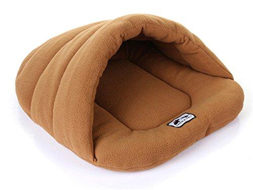 muodu Luxus Pet Höhle Hälfte verdeckt Weich Cozy Schlafsack, Matte für Hunde Katze Kaninchen warmes House Bett (Sherpa Baumwolle Hut)