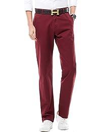 ELM Chino, Pantalones Hombre, Rojo (Bordeaux), Large Farah