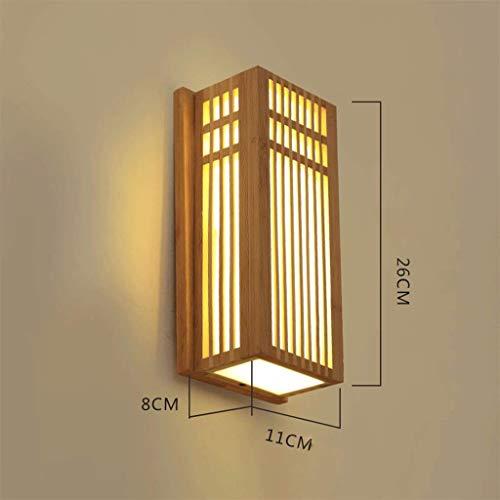 HYKISS Chambre Lampe Murale Minimaliste Moderne CréAtive Chinoise Lampe De Mur Couloir Lampe De Chevet Lampe De Jardin en Bambou éClairage, PréParation De Bande De Bambou, 21 * 40cm,A