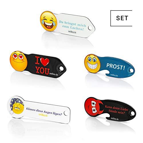 Code24 Llavero Buscador de Llaves con Chip para Carrito de la Compra, con Emoticonos, Código de Registro...