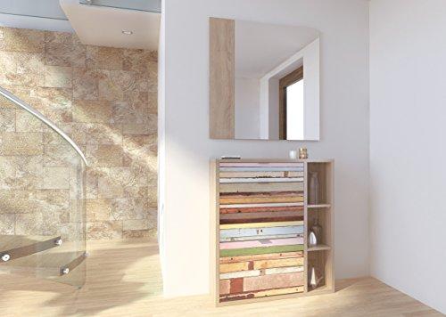 Recibidor zapatero con espejo varios compartimentos serigrafia colores 100x90cm