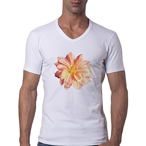Flowers Nature Blossom Plant Bif Pink Herren V-Neck T-Shirt Weiß
