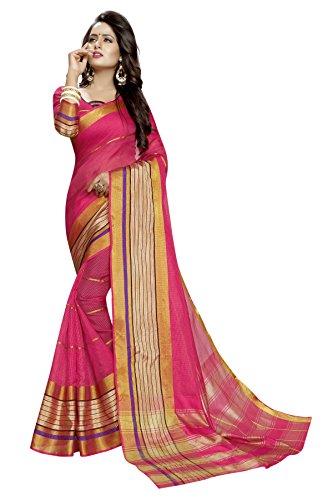 PerfectBlue Women's Cotton Silk Saree With Blouse Piece (Pink)
