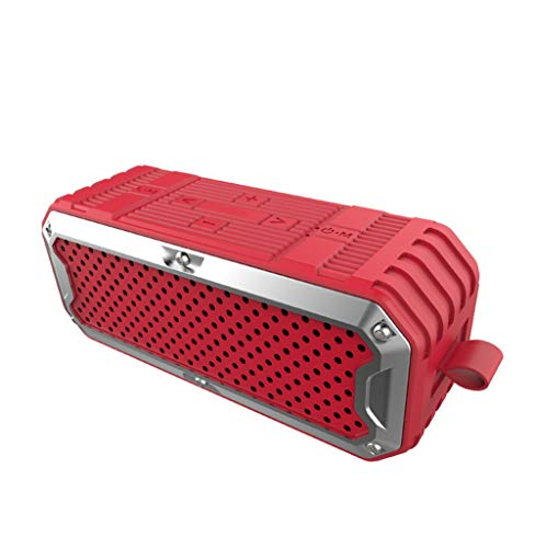 SHENGY Wasserdichte Portable Wireless Bluetooth Speakers, HiFi Subwoofer Power Bank Dual Drivers Super Bass Aux Audio/TF Card unterstützt,Red