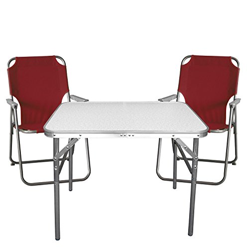 Wohaga Campingmöbel Set 3-teilig Strandmöbel Campinggarnitur Gartenmöbel - Klapptisch, Aluminium, 55x75cm + 2X Campingstuhl, Rot
