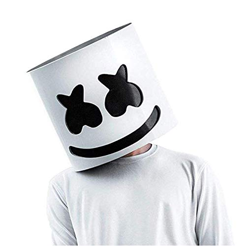 SHI WU DJ Marshmello Maske Marshmello Helm für Musik Festival Halloween Maske Requisiten Ganzkopfmaske Halloween Kostüme Cosplay Maske