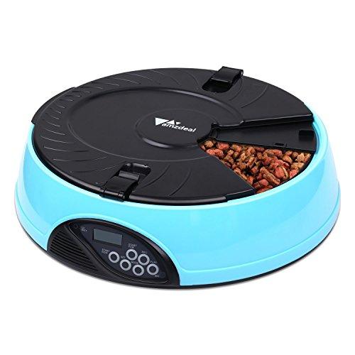 Amzdeal Automatico Pet Feeder animale domestico 6 Pasto LCD digitale Cavi Idraulico Pasto Dispenser Distributore Ciotole con registratore Blu(2)