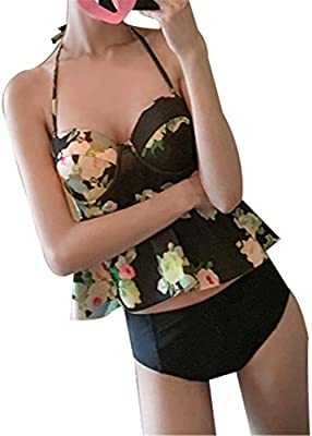 Ropa Traje De Baño Dos Piezas Para Mujer Floral Cuello Hálter Con Volantes Hacer subir Tankini Conjuntos De Bikini Top y Braguitas y Bóxer Shorts Negro