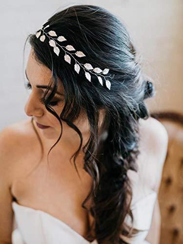 Simsly nuziale capelli vite argento o oro foglia accessori capelli sposa copricapo con foglie per sposa e damigelle
