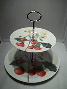 The Paintings of Redoute Strawberry Design 2 Tier China Cake Stand