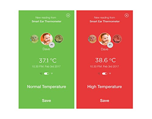 Motorola termómetro inteligente de oído con seguimiento de la temperatura - Sincronización en tiempo real con su teléfono inteligente a través de Bluetooth - Compatible con iOS y Android