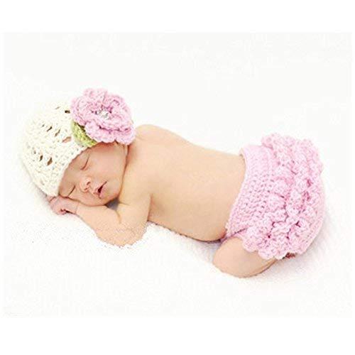 BINLUNNU Neugeborene Junge mädchen Handarbeit gehäkelte Baby kostüm fotoshooting Hut Mütze Keuchen