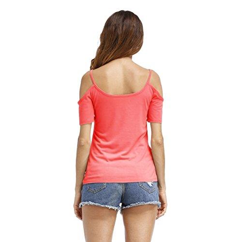 ROPALIA Damen Schulterfrei Sommer T-Shirt Rot