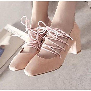 WIKAI Frauen Heels Komfort PU Feder Casual Comfort Light Pink Beige Schwarz 3-in-3 3/4 in, Light Pink, Us7.5/EU38/UK5.5/CN 38