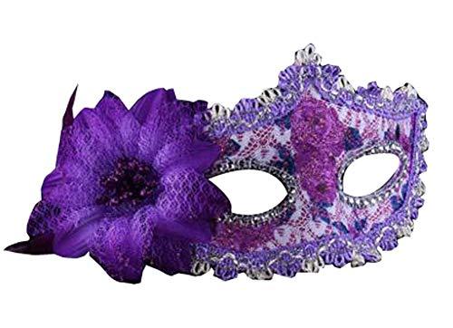 Venitiens Kostüm - Schöne Maskerade Maske Venezianische Augenmaske mit Blume, Lila