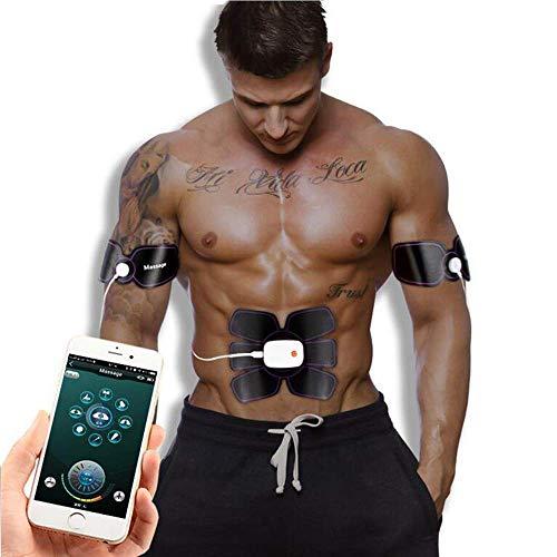 RXRENXIA EMS Stimolatore Muscolare-Mobile App Smart Addominale-Smart Adesivo Addominale Uomini E Donne Pigro Addestratore Muscolare Addominale