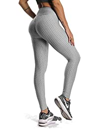 ac486a5e5bc71e Women's Ruched Butt Fitness Leggings High Waist Stretchy Honeycomb Texture  Running Tights