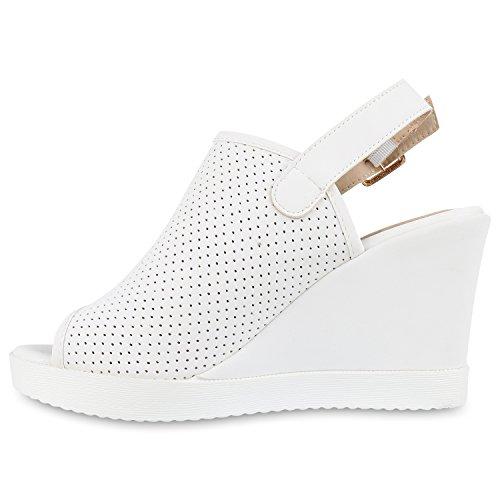 Damen Sandaletten Keilabsatz Keilsandaletten Strass Wedges Weiß