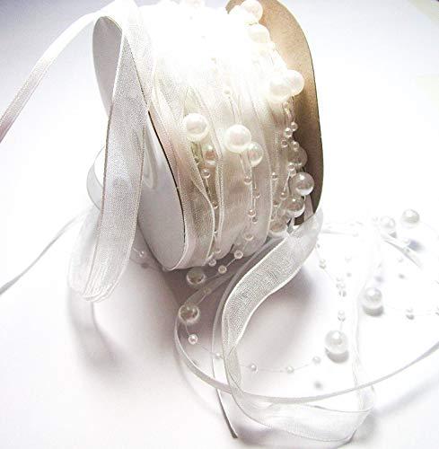 CaPiSo 15m Schleifenband mit Organza und 3 und 8 mm Perlen,Perlenband,Geschenkband,Trendyband,Perlen am Band (Weiss)