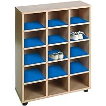 Mobeduc 600603/15HP20 - Mueble zapatero infantil con 15 huecos, madera, color haya y azul oscuro, 62 x 28 x 87 cm