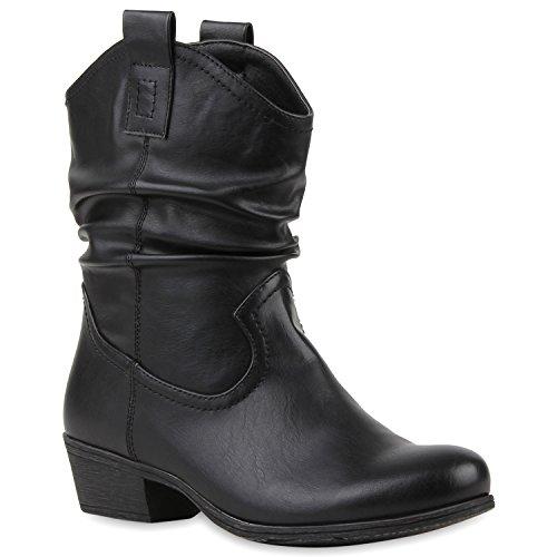 Damen Cowboy Boots Lederoptik Stiefeletten Blockabsatz Stiefel Schuhe 114131 Schwarz 39 | (Western Country Stiefel)