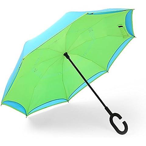 COLLECTOR C-maniglia auto doppio invertire con asta lunga ombrelli pubblicitari ombrelloni ombrelloni 77 cm * 8k,Fuori il luce verde blu