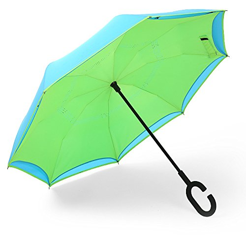 kinine C-maniglia auto doppio invertire con asta lunga ombrelli pubblicitari ombrelloni ombrelloni 77 cm * 8k,Fuori il luce verde blu