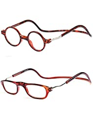 MAXFASHION 2PaarQuadratischeundRundeRahmenEinstellbareMagnetischeLesebrille + 1,00 bis + 4,00 Dioptrien (Stil 1)