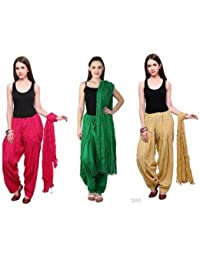 Noor Enterprises Women's Cotton Handmade Punjabi Traditional Look Semi-Patiala Salwar With Dupatta (Multicolour...