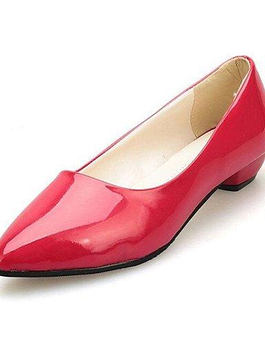 GS~LY Damen-High Heels-Lässig-PU-Niedriger Absatz-Spitzschuh-Schwarz / Rosa / Rot / Grau red-us6 / eu36 / uk4 / cn36