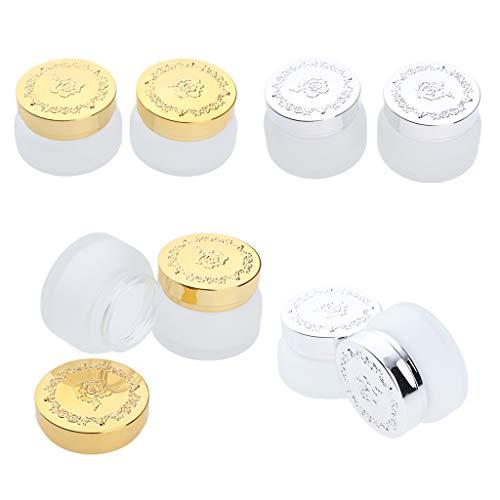Homyl 8pcs 30g Pot Cosmétique Vides échantillon de Cosmétique Bouteille Maquillage Voyage en Verre Portable pour Visage Lotion Crème Poudres Onguent