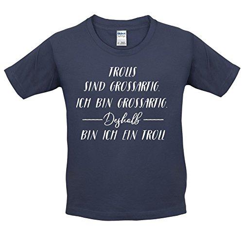 Ich Bin Grossartig - Trolls - Kinder T-Shirt - Navy - L (9-11 Jahre)