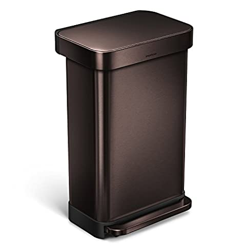 simplehuman Rectangular Step Trash Can with Liner Pocket, Dark Bronze Stainless Steel, 45 L / 11.9