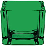 Olympia GM225portavelas de cristal, cuadrado, verde (Pack de 6)