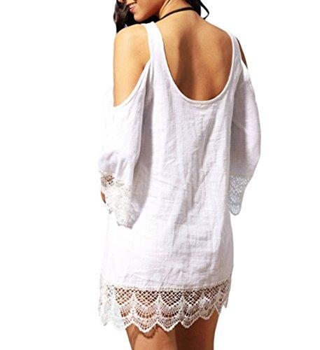 ASSKDAN Femme Sexy Robe de Plage Dentelle épaule Fuite Dos Nu Manche 3/4 Mini Robe Cocktail Blanc