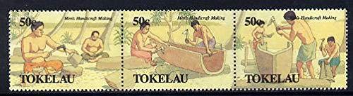 Tokelau 1990 Men's Handicrafts perf set of 6 (two strips of 3) u/m SG 183-88 FISHING FOOD CANOES JandRStamps -