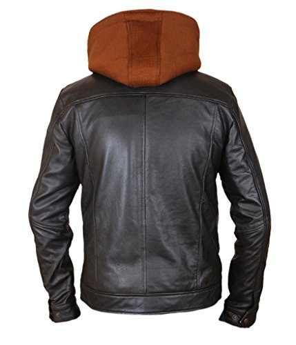 F&H Men's Bucky Barnes Civil War Removable Hood Genuine Leather Jacket Black