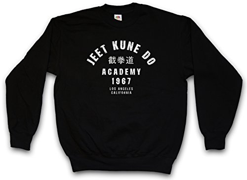 JEET KUNE DO ACADEMY PULLOVER SWEATER SWEATSHIRT MAGLIONE- Bruce Martial Arts Lee Stil China chinese Jun Fan Gung Kung Fu Karate Akido Takewondo Tai Chi Kickboxing Champion Fighter Taglie S - 3XL